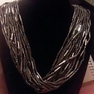 Metallic Black Beaded Necklace